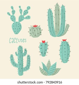 Cactus plant, vector stipple concept with hearts