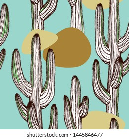 Cactus plants texture. Hand-drawn vector seamless pattern with desert plants for your natural design.