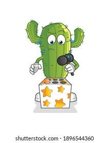 Cactus play whack a mole mascot. cartoon vector