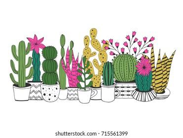 Cactus in pot. Hand drawn vector illustration.