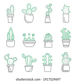 Cactus in Pot Sign Thin Line Icon Set Different Type Plant for Home. Vector illustration of Icons