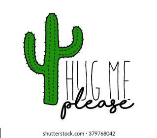 Cactus print with texts in vector