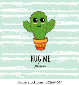 """Cactus print with texts in vector. Postcard """"Hug me please"""""""