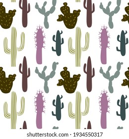 Cactus seamless pattern background. Cute summer pattern for design wallpaper, wrapping paper, fabric, vector cartoon flat illustration