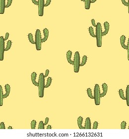 Cactus seamless pattern, hand drawing, vector illustration. Painted green peyote with spikes on yellow background. For fabric design, cloth, wallpaper, decorating