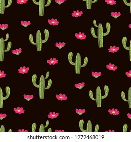 Cactus seamless pattern, hand drawing, vector illustration. Painted green peyote with spikes and pink flowers on dark brown background. For fabric design, cloth, wallpaper, decorating