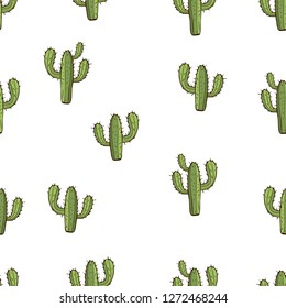 Cactus seamless pattern, hand drawing, vector illustration. Painted green peyote with spikes on white background. For fabric design, cloth, wallpaper, decorating