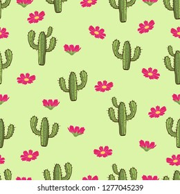 Cactus seamless pattern, hand drawing, vector illustration. Painted green peyote with spikes and pink flowers on light green background. For fabric design, cloth, wallpaper, decorating