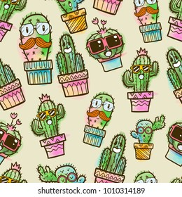 cactus seamless pattern, succulent seamless pattern