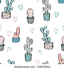 Cactus seamless pattern. Trendy boho background. Cacti fabric print design. Succulent textile surface.