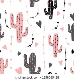 Cactus. Seamless pattern vector background. Vector. Black pink cactus on white background. Fabric print cloth design Mexican ethnic classical embroidery succulent cactus latin america background.