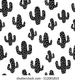 Cactus. Seamless pattern vector background. Vector. Concept of dotted black cactus on white background. Fabric print, eps10.