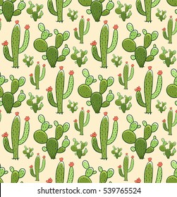 Cactus seamless pattern. Vector colorful illustration