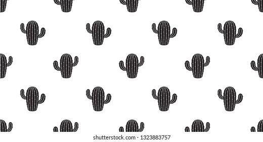 cactus seamless pattern vector Desert flower botanica summer plant garden isolated background repeat wallpaper illustration doodle