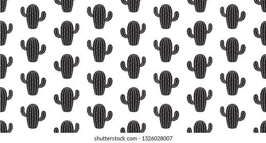cactus seamless pattern vector desert flower botanica plant garden summer scarf isolated background repeat wallpaper illustration doodle