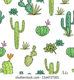 cactus seamless pattern of vector drawings on white background