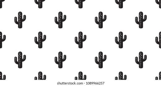 cactus seamless pattern vector flower Desert botanica plant garden summer background isolated repeat wallpaper
