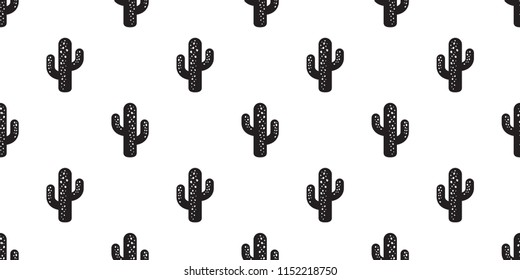 cactus seamless pattern vector flower Desert botanica plant garden summer isolated tile background repeat wallpaper