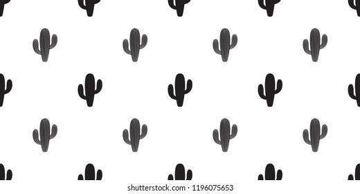 cactus seamless pattern vector flower Desert botanica plant garden scarf isolated tile background cartoon repeat wallpaper