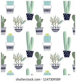 Cactus seamless pattern.Vector print.Cactus hand drawing.Summer repeat pattern.