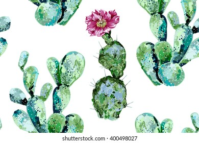 Cactus seamless vector floral pattern background, watercolor style