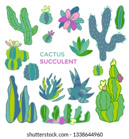 Cactus set. Sketchy style vector illustration.