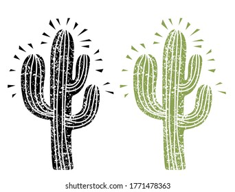 Cactus silhouette. Grunge cactus on old paper texture background illustration