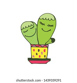 cactus smile, happy cactus, mascot vector cartoon illustration.love cacti, love, smiles