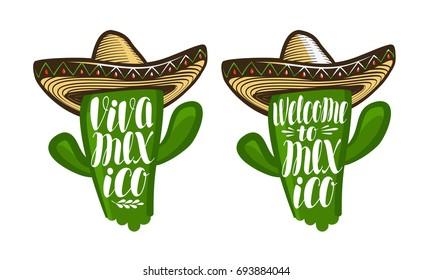 Cactus in sombrero, cartoon. Mexico label or symbol. Lettering, calligraphy vector illustration