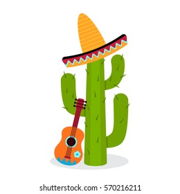 Cactus in sombrero with a guitar. flat vector illustration isolate on a white background