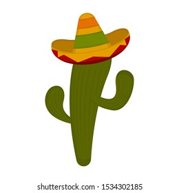 Cactus with a sombrero on a white background - Vector