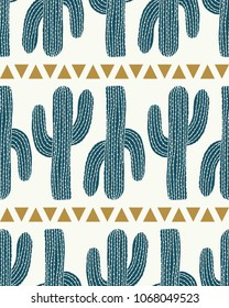 cactus stripe cream vector seamless repeat pattern