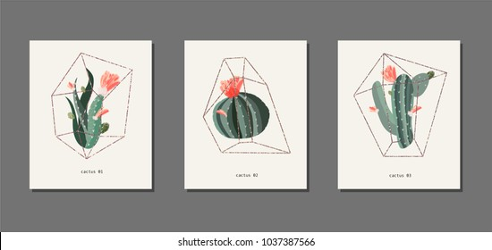 Cactus and succulent in a florarium glass vector illustration. Golden frame. Poster or card set. Red flowers. Birthday, anniversary, Valentin's day, party invitations, wedding, covers.