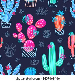 Cactus succulent wild seamless pattern flowers colorful watercolor bright collections. Houseplant beautiful trendy pattern on white background. Hand drawn vector illustration.