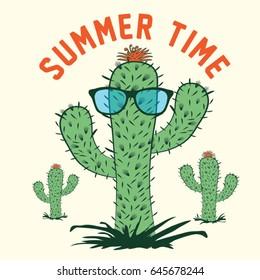 Cactus summer time typography, tee shirt graphics, vectors