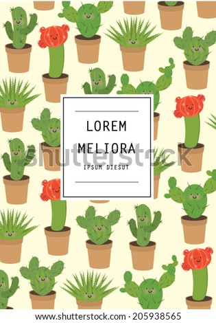 cactus template vectorillustration stock vector royalty free