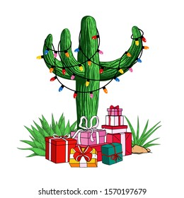 Cactus tree with a garland of light bulbs and a variety of gifts. Tropical  Christmas. Festive vector illustration.