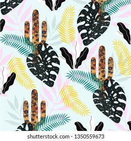 Cactus with tropical leaves pattern