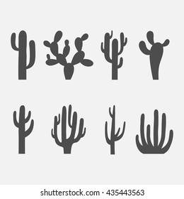 Cactus vector icon set isolated on a white background. Dark silhouettes of desert or wild cactus.