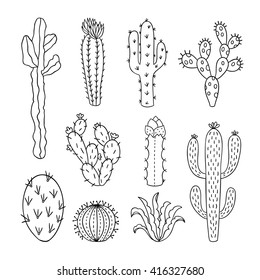 Cactus vector illustrations. Hand drawn outline cactus set. Cactus plants nature elements