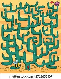 Cactus vector maze. Cactus and bee.
