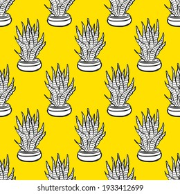 Cactus Vector Seamless pattern. Nature. Hand drawn doodle cacti. Desert Floral background. Black and white cacti print in the scandinavian style