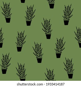 Cactus Vector Seamless pattern. Nature. Hand drawn doodle cacti. Desert Floral background. Black cacti print on khaki fond in the scandinavian style
