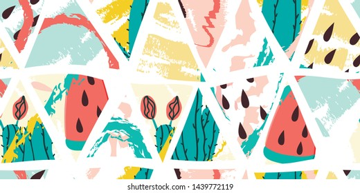 Cactus and watermelon ice cream summer seamless triangles pattern. Stock vector