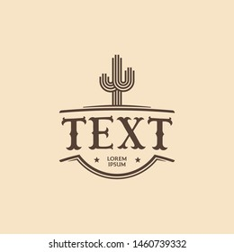 cactus wildw west cowboy logo design. Logo template for ranch, wild west company logo design
