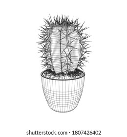 Cactus wireframe in a pot made of black lines isolated on white background. 3D. Vector illustration
