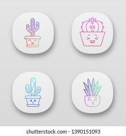 Cactuses app icons set. Laughing Saguaro and peyote cactuses. Kissing zebra home cacti. Hushed elephant cactus. UI/UX user interface. Web or mobile applications. Vector isolated illustrations