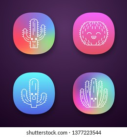 Cactuses app icons set. Plants with smiling faces. Laughing barrel cactus. Astonished elephant cactus. Wild cacti. UI/UX user interface. Web or mobile applications. Vector isolated illustrations