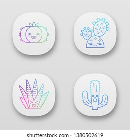 Cactuses app icons set. Plants with smiling faces. Laughing peyote and zebra cactuses. Unamused prickly pear wild cacti. UI/UX user interface. Web or mobile applications. Vector isolated illustrations