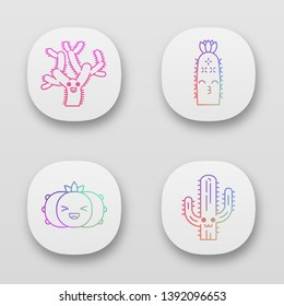 Cactuses app icons set. Plants with smiling faces. Laughing peyote cactus, teddy bear cholla. Kissing hedgehog cacti. UI/UX user interface. Web or mobile applications. Vector isolated illustrations